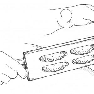 Sistro e xeito de tocalo descrito polos portadores e portadoras de Lourido  (A Paradanta, Pontevedra).  Deseño de Ramón Marín.