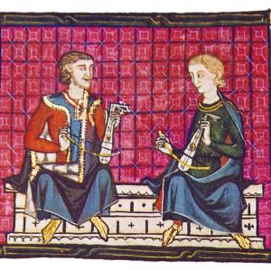 Tocadores de rabé mourisco representados nas <em>Cantigas de Santa María</em> (cantiga 110, códice j.b.2, século XIII).