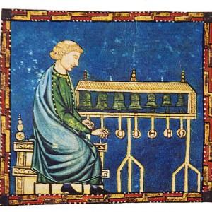 Tocadores de campás (carillón) representados nas Cantigas de Santa María (cantiga 400 do códice j.b.2, século XIII).