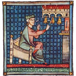 Tocadores de campás (carillón) representados nas Cantigas de Santa María (cantiga 180 do códice j.b.2, século XIII).