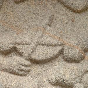 Detalle do tímpano da igrexa de San Miguel do Monte (Chantada, Lugo) onde se aprecia un tocador de rabel. Fotografías do autor.