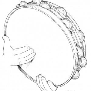 Un xeito de tocar a pandeira. Man colocada para tocar a muiñeira e a jota.  Deseños de Ramón Marín.