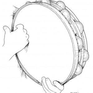 Outro xeito de tocar a pandeira. Tocando cos cotelos para as voltas das jotas. Deseños de Ramón Marín.