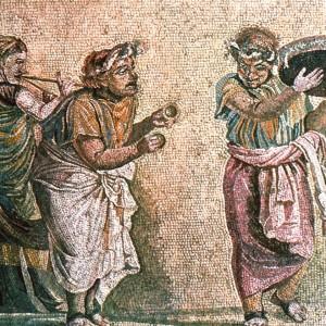 Mosaico firmado por Dioscórides de Samos datado no século I a.C. e achado en Pompeia, onde se aprecian o tympanum, os címbalos e unha muller tocando a tibia.