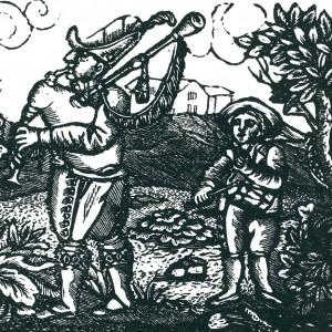 Gaiteiro e tamboriteiro n'A gaita gallega tocada polo gaiteiro de Xoán Manuel Pintos (Pontevedra, 1853). Neste gravado destacan a ornamentación da gaita de fol así como o tambor cos arrochos apertando cara abaixo, quizais pendurado do ombreiro e tocado por un neno.