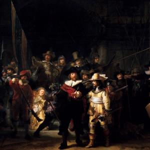 Tambor militar representado n'A ronda de noite de Rembrandt (1640-1642). No instrumento aprécianse os arrochos tensando cara abaixo, así como o sistema de cuña para tensar os bordóns. Fotografía cedida por Carlos García.