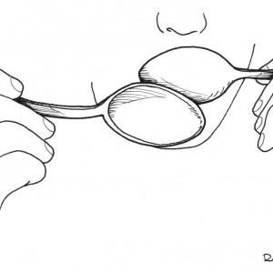 Diversos xeitos de tocar as culleres. Deseños de Ramón Marín.
