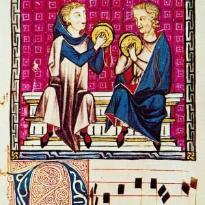 Tocadores de pratiños representados nas <em>Cantigas de Santa María</em> (cantiga 190, códice j.b.2, século XIII).
