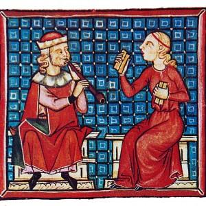 Xograresa con tarrañolas acompañando un xograr de óboe. Iluminación da cantiga 330 das Cantigas de Santa María (códice j.b.2, século XIII). Nótese que o xeito de termar das trécolas non é o aquí descrito, senón o que aínda empregan os ciganos do Raxasthán (India).