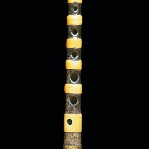 Punteiro da gaita de fol  de Xan de Campañó (Campañó, Pontevedra) fabricada por Manuel Villanueva de Poio a finais do século XIX.  Fotografías do autor.