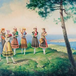 """Gaiteiras de Ribadeo"" obra de Suárez Couto (1894-1981). Este foi o primeiro grupo feminino, que xurdíu en Galicia sobre os anos 1960.  Museo Provincial de Lugo."