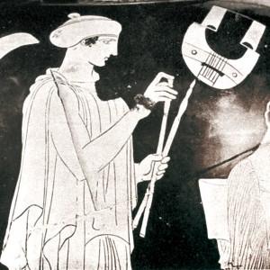 Tocador grego de aulòs.