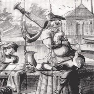 Gaiteiro na Quinta de Manique (s. XVII-XVIII, Portugal). Parece que no país veciño foi tamén durante os séculos barrocos cando o freque comezou a pendurar do roncón das gaitas de fole.