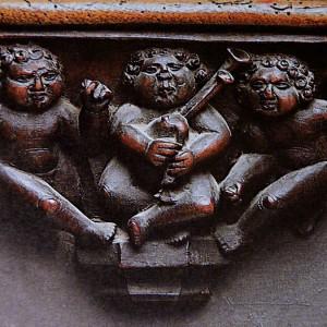 Relevo dunha das misericordias do cadeirado  da catedral de Astorga (León, s. XVI).