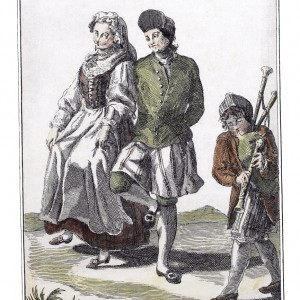 Una Gallega de Noia con un Gallego de Tuy bailando la Danza prima. Colección de Trajes de España (1777). Do arquivo do Museo de Pontevedra.