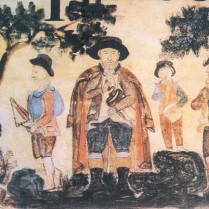 Iluminación dun cantoral de San Paio de Antealtares (Santiago de Compostela, s. XVIII) onde se aprecian dous grupos de músicos, o zanfoneiro acompañado polo tocador de ferriños, e o gaiteiro xunto co tamboriteiro que toca o pito e o tambor. Fotografía de Xurxo Lobato.