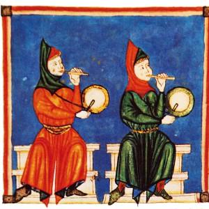Tocadores de pito e tambor representados nas Cantigas de Santa María (cantiga 370, códice j.b.2, século XIII).