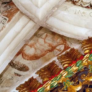 Frauta e tambor nas pinturas da igrexa de Santa Baia de Banga (O Carballiño,  Ourense, 1550). Fotografías do autor.