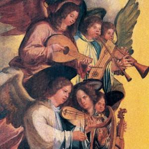 Detalle dunha pintura da escola portuguesa do século XVI conservada no Museu Nacional  do Azulejo (Lisboa, Portugal) onde se aprecian uns anxos tocando unha frauta de tres furados acompañada dunha cítara, instrumento aínda conservado en Aragón baixo o nome de chicotén.