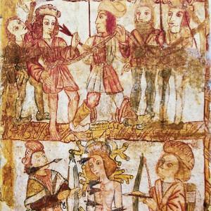Tocador de corno representado nas pinturas de San Fiz de Cangas (Ferreira de Pantón, Lugo).  Fotografía do autor.