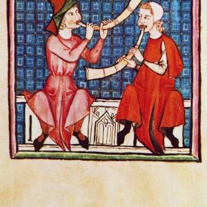 Tocadores de corneta nas Cantigas de Santa María (cantiga 270, códice j.b.2, século XIII).
