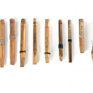 Pallóns de gaita de fol procedentes de diferentes zonas de Galicia, feitos en cana. Á dereita de todo pallón de gaita de fole trasmontana. Da colección do autor. Fotografía Alba Vázquez Carpentier.
