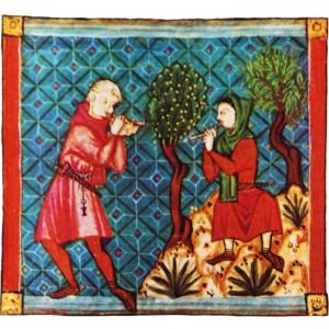 Esta iluminación da cantiga 340 do das Cantigas de Santa María (códice j.b.2, s. XIII) amosa dous pastores: o da esquerda parece tocar unha especie de alboka (clarinete dobre); o da dereita semella tocar nunha gaita sinxela, probablemente unha especie de gaita de cana ou sabugueiro.