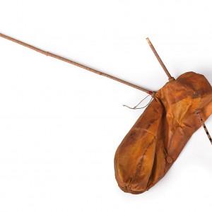 Gaita de sabugueiro con bordón feita coa pelica dun cabrito.  Da colección do autor.  Fotografía Alba Vázquez Carpentier.