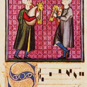 As gaitas de fol  da cantiga 280 das <em>Cantigas de Santa María</em> (códice j.b.2, s. XIII) amosan un tubo cantor cilíndrico, e polo tanto probablemente de lingüeta sinxela, e outro tubo paralelo que ben pode ser un bordón semellante ao que aparece nalgunhas gaitas de cana con fol, afinado na tónica do cantor na súa mesma oitava.