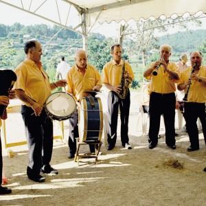 Grupo musical de Taboadelo, no Encontro de Murgas de Guláns (Pontevedra, 1998). Fotografía do autor.