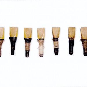 Palletas que pertenceran a Perfecto Feijoo  conservadas no museo de Pontevedra. Fotografía do autor.