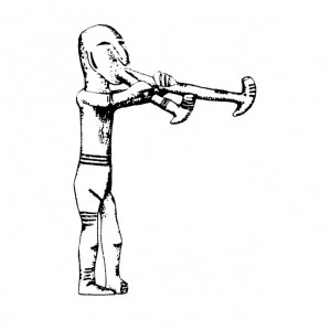 Deseño dunha figuriña de bronce que representa un tocador de óboe duplo achada en Százhalombatta (Hungría, s. VI a.C.).