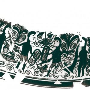 Nesta pintura dun dos coñecidos vasos achados en San Miguel de Liria (Valencia, s. II-III a.C.) apréciase unha tocadora de óboe duplo e un home que toca un gran aerófono cónico para acompañar o que parece ser unha danza guerreira.