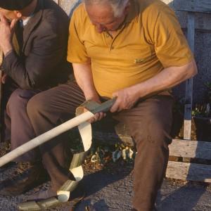 Pedro López Alonso (Donís, Cervantes, Lugo) facendo unha toba. Extraendo a codia da póla.   Fotografías do autor.