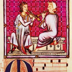 Tocadores dunha especie de óboe representados nas Cantigas de Santa María (Cantigas 310 e 390 do códice j.b.2, s. XIII).