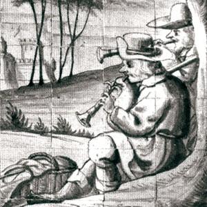 Músicos de óboe e gaita de fol representados na Quinta de Torneiro (Oeiras, Portugal) século XVII-XVIII.