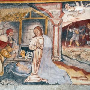 Pastores tocando a gaita de fol e o óboe representados nas pinturas da igrexa de Proendos (s. XVI, Sober, Lugo). Fotografía do autor.