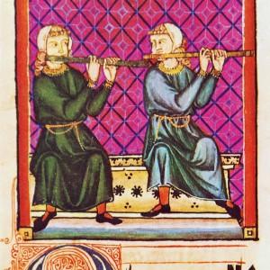 Tocadoras de frauta traveseira (axabebas mouriscas) representadas nas Cantigas de Santa María (cantiga 240, códice j.b.2, século XIII).