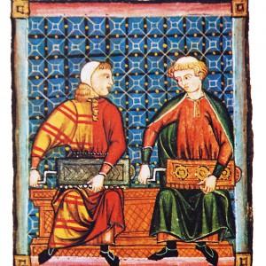Tocadores de zanfona representados  nas Cantigas de Santa María  (cantiga 160, códice j.b.2, século XIII).