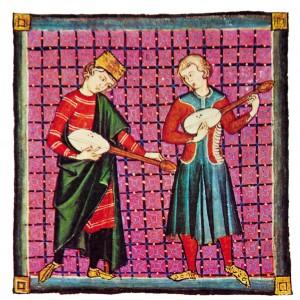 Tocadores de cítola na iluminación  da cantiga 130 das Cantigas de Santa María (códice j.b.2, século XIII).