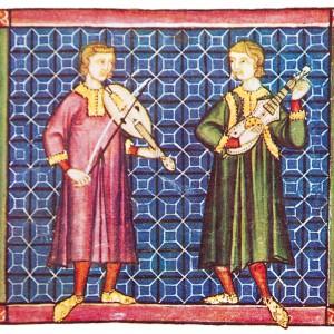Miniatura da cantiga 10 das Cantigas de Santa María (códice j.b.2, século XIII)  onde se aprecia un tocador de viola de arco  e outro de guitarra latina.