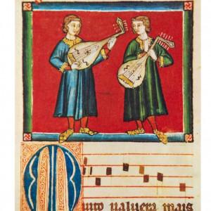 Laúdes de tipo oriental representados na miniatura da cantiga 30 das Cantigas de Santa María (códice j.b.2, século XIII).
