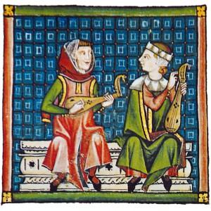 Tocadores de rabel (con plectro) representados nas Cantigas de Santa María (cantiga 90, códice j.b.2, século XIII).