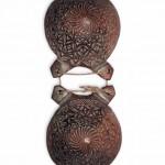 Castañetas conservadas no museo de Pontevedra. Podería tratarse dunhas castañetas leonesas. Fotografía do autor.